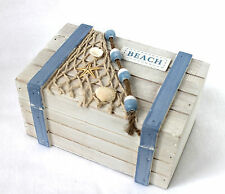 BEACH Box 18cm Truhe Holz weiss-hellblau Kiste