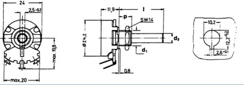 1 pc Potentiometer  Potenziometer  Poti  4W Drahtpoti mono linear 47R  NEW  #WP