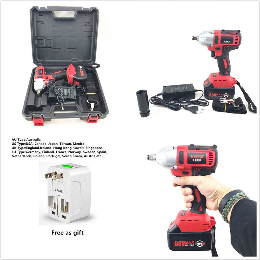Professional 360n.m 68V Brushless Car Electric Impact Wrench + Universal Adaptor
