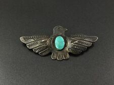 Vintage Navajo Indian Sterling Silver Turquoise Thunderbird Pin Brooch
