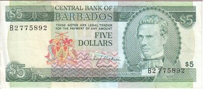 5 Dollars Prefix B2 Just Barbados Banknote P31-5892 Vf Strengthening Waist And Sinews
