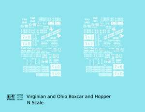 K4-N-Decals-Virginian-and-Ohio-Boxcar-and-Hopper-White-V-amp-O