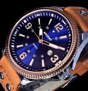 Akzent-Uhr-Herrenuhr-Armbanduhr-Hellbraun-Blau-Rose-Gold-Silber-Farben-Nieten