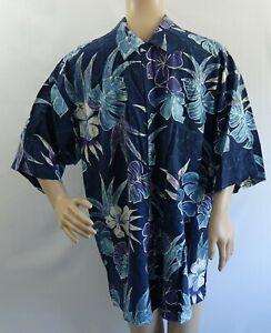d2c89e94 ISLAND REPUBLIC 100% silk blue w floral/leaf print button short ...