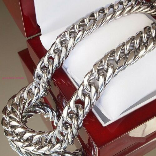 "Heavy 24/"" Huge 20mm Mens Heavy Silver Plated Stainless Steel Curb Chain Necklace"
