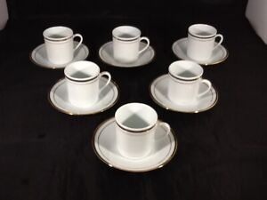 SET OFooted Demitasse Tea Cup & Saucer Sets + Small Plate Gold Trim China