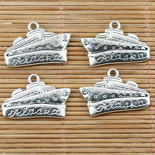 6PCS Tibetan silver color 2sided ship design charms EF1483