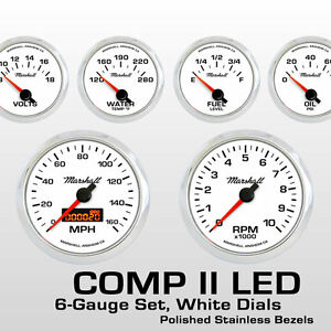 C2-6-Gauge-Set-White-Dials-Stainless-Bezels-0-90-Ohm-Fuel-Level-2264SS