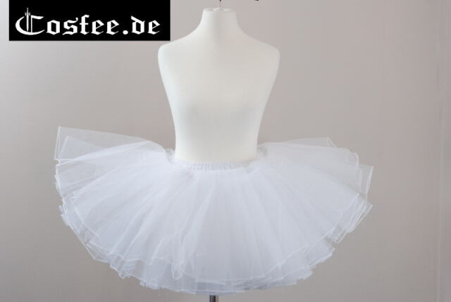 Gothic Lolita Petticoat tütü weiß Hochzeit Rock mini Unterrock Taillen bis 78cm