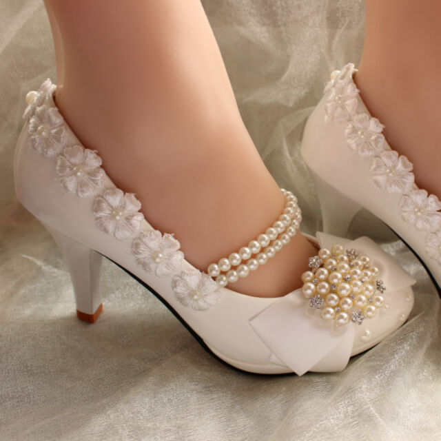 Fast Shipping Romantic Pure Pearl Chain Lace Flower Women Wedding Shoes