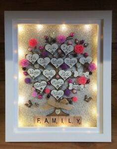 Personalised 3d Deep Led Lit Box Frame Large Family Tree Flowers