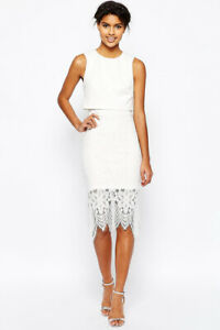 ASOS-NEW-Womens-Fitted-Overlay-Top-Lace-Hem-Midi-Dress-in-White-Sizes-8-to-18