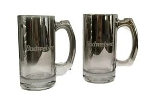 Budweiser Etched Metallic Silver Fade Beer Mugs Steins Glass Set Of 2