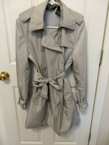 Norma Kamali Silver Gray Trench Coat Small Belted