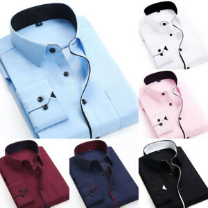 New-Mens-Long-Sleeve-Shirt-Button-Up-Business-Work-Smart-Formal-Plain-Dress-Top
