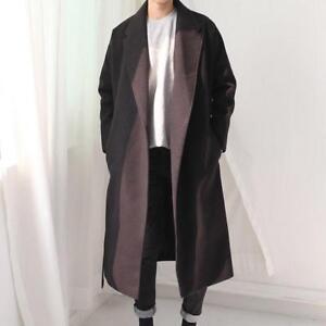 a5c322c92f3 Korean Mens Wool Blend Trench Long Coat Long Loose Belt Lapel ...