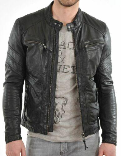 URBAN Men 100/% Leather Jacket Motorcycle Slim fit Biker Genuine lambskin Coat