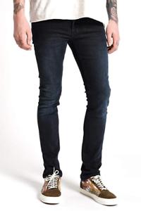 Nudie-Herren-Slim-Skinny-Fit-Stretch-Jeans-Hose-Tube-Tom-Black-Carbon