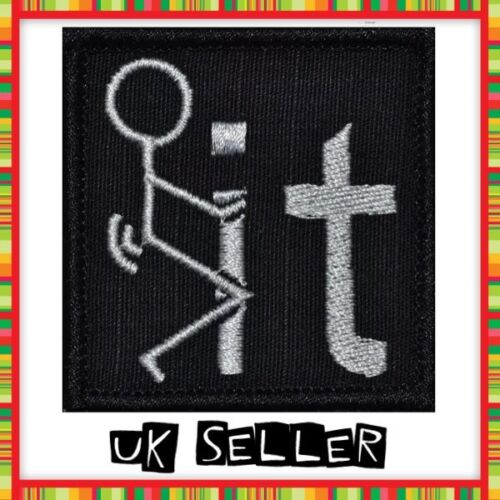 Sew On Embroidered Cloth Patches 2 x 5cm F**k It Screw It Rude Iron