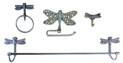 Cast Iron DRAGONFLY Bath Accessories Set 4 pc Vintage Look cottage decor shabby