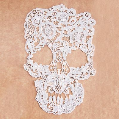 Decoration White Sewing Embroidery Fabric Lace Applique Skull Patch