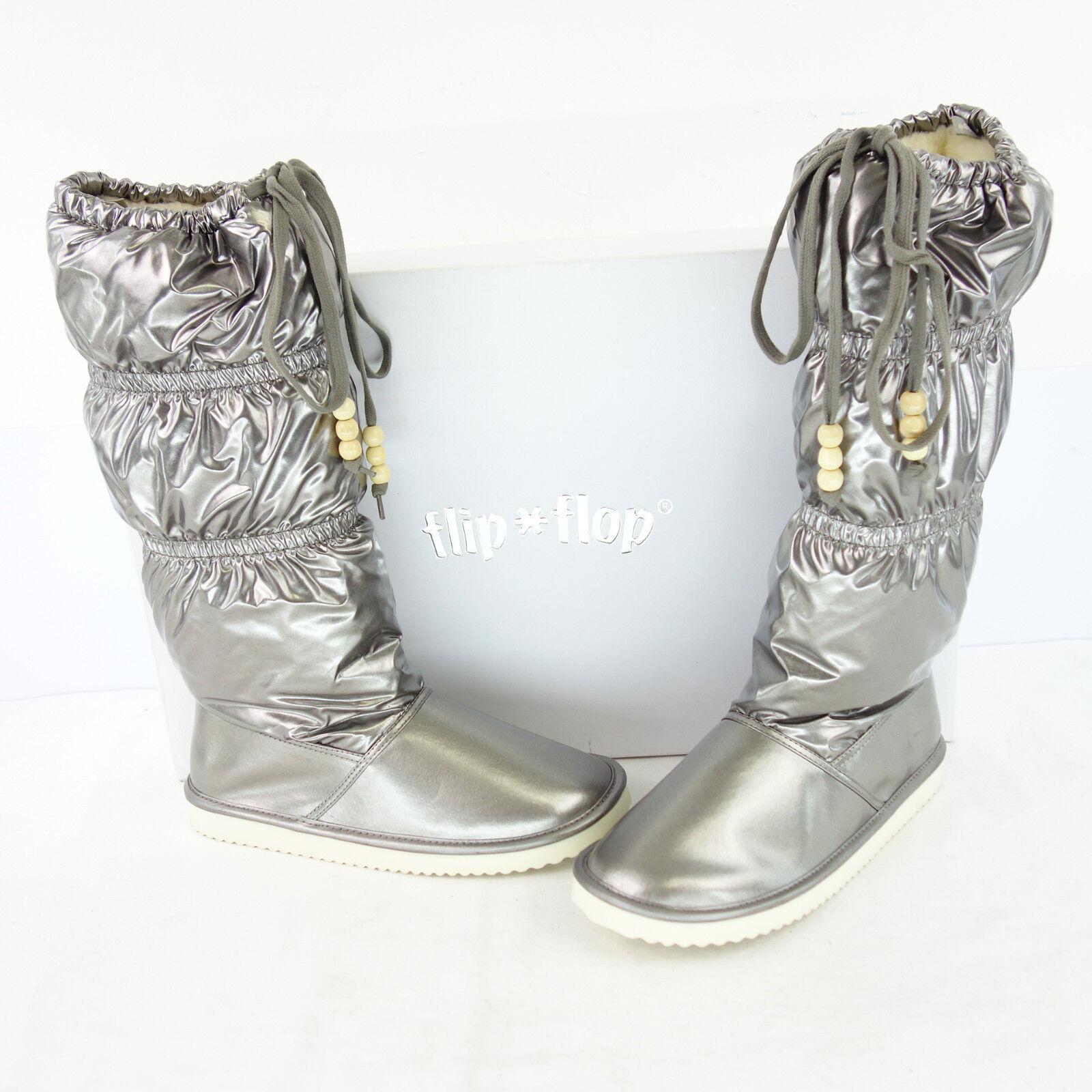 FLIP FLOP Damen Stiefel Stiefel Schuhe Bronze Platin Metallic gefüttert NP 109 NEU