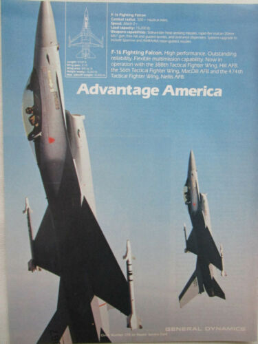 5//1981 PUB GENERAL DYNAMICS F-16 FIGHTING FALCON USAF TACTICAL FIGHTER WING AD