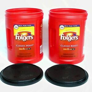 Folgers-Coffee-Cans-Plastic-Empty-380-Cup-Lot-2-Large-Red-Storage-Craft-Garage