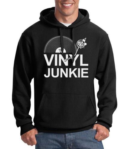 VINILE Junkie Felpa con cappuccio Musica LP Record DJ GIRADISCHI CRATE cercatori Slogan Compleanno