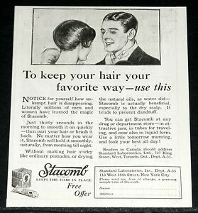 Details about 1925 OLD MAGAZINE PRINT AD, USE STACOMB, TO KEEP YOUR HAIR  YOUR FAVORITE WAY!