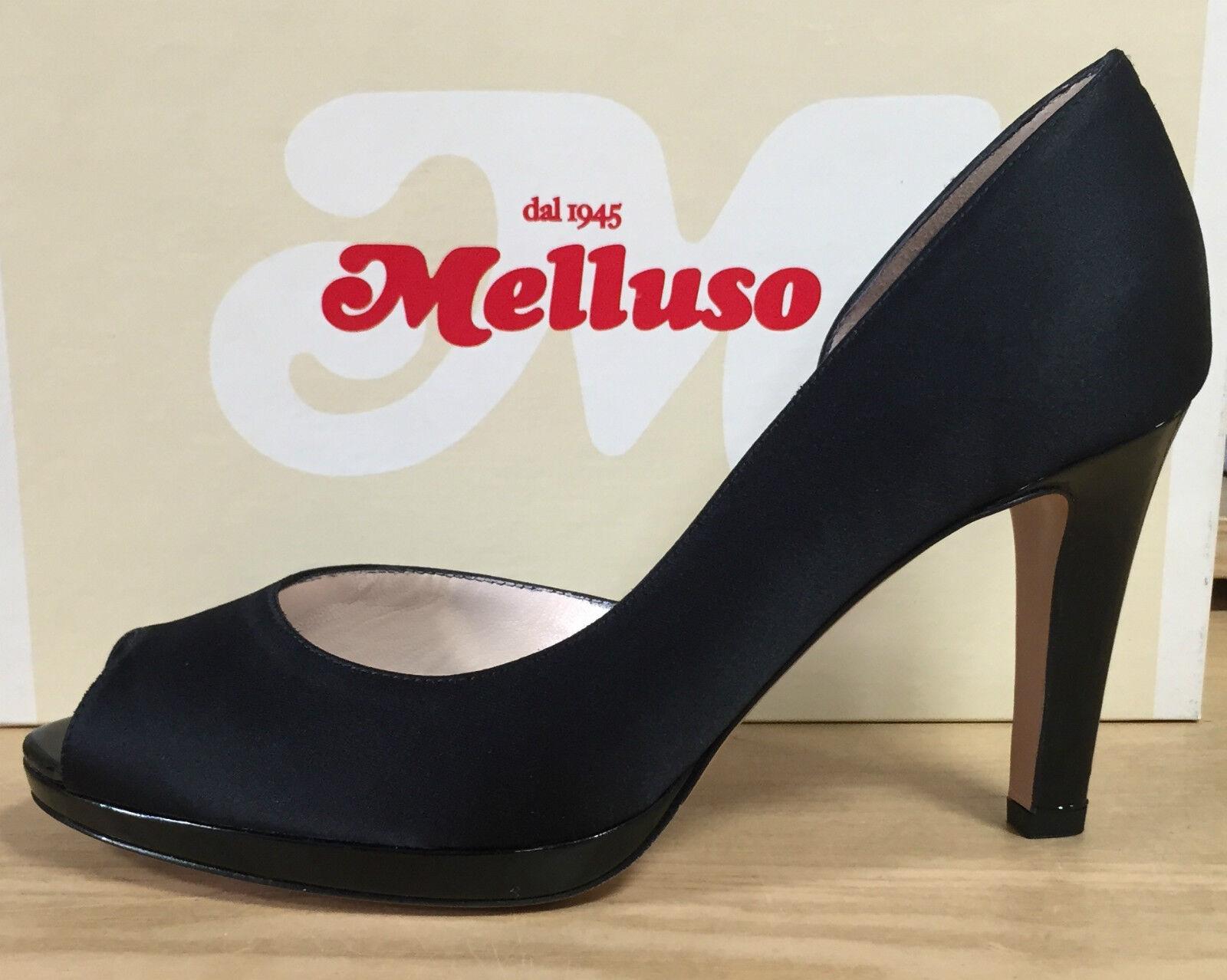 MELLUSO shoes women, DECOLTE' SPUNTATO IN RASO black TACCO ALTO E PLATEAU