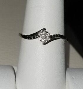 Kay Jewelers 10k White Gold Flower Black Diamond Engagement Pre Promise Ring Ebay