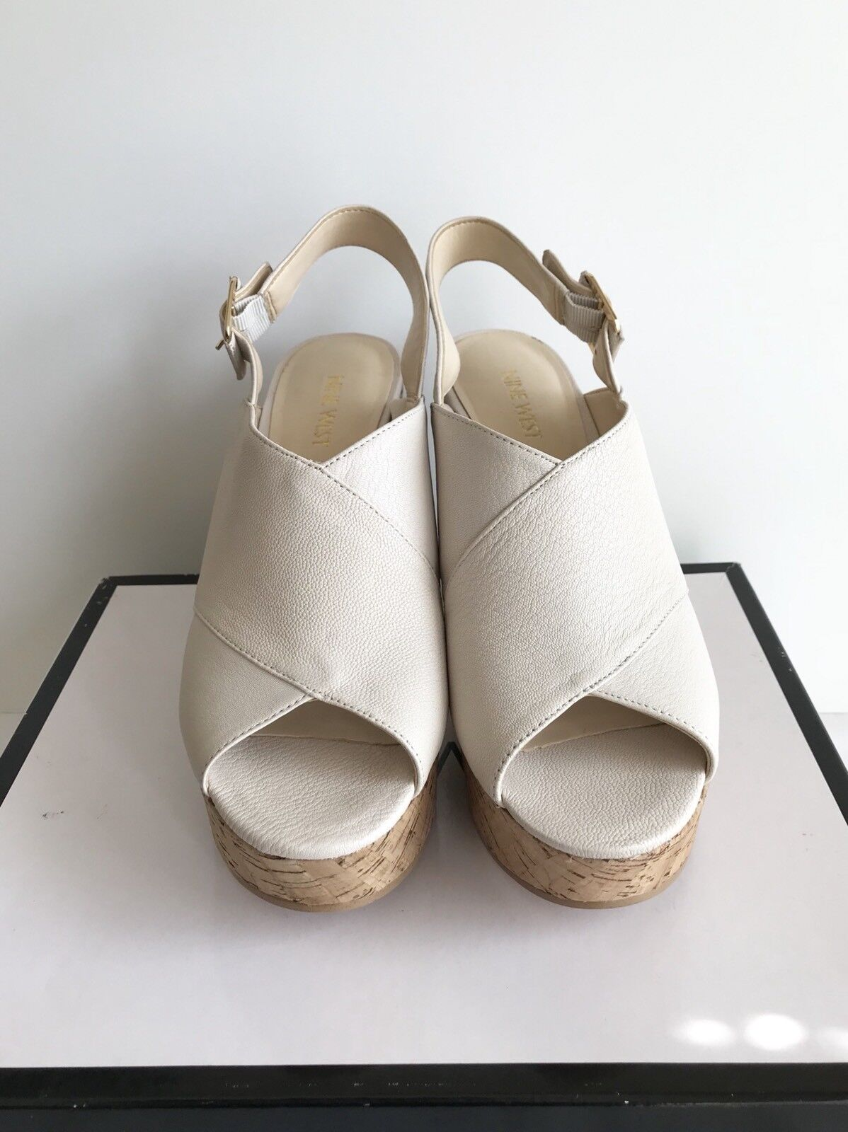 NINE WEST NWIMENA Cream Wedge Sandals Size 9 .00