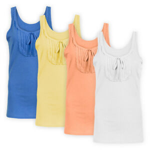 Womens-Ladies-Casual-Vest-Top-Lace-Trim-Pleat-Panel-Stretch-Sleeveless-T-Shirt
