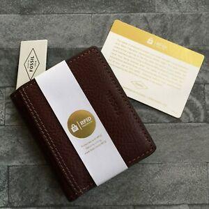 FOSSIL-MARRONE-pelle-titolare-della-carta-amp-Money-Clip-con-protezione-di-identita-RFID-NUOVO-CON