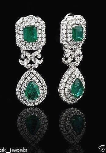 4.46ct NATURAL DIAMOND EMERALD 14K SOLID WHITE gold WEDDING ANNIVERSARY EARRING
