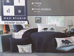 Max Studio Blue Jeans Denim Twin Quilt Kids Boys Bedding