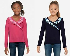 NWT-Justice-Girls-Faux-Wrap-Long-Sleeve-Shirt-Tee-Pick-Size-amp-Color