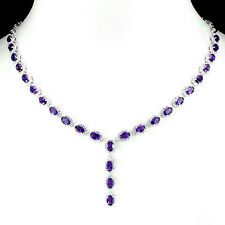 FASCINATING NATURAL 6x4mm INTENSE PURPLE URUGUAY AMETHYST-CZ 925 SILVER NECKLACE