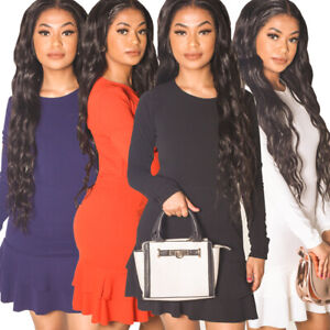 Uk-Womens-Ladies-Frilled-Mini-Dress-Size-8-14