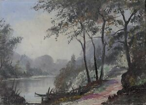 Huile-sur-toile-circa-1940-signature-paysage-lacustre-neo-impressionnisme