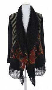 Damee-Inc-Sz-L-Faux-Fur-Tencel-Collar-Draped-Art-to-Wear-Sweater-Jacket-Womens