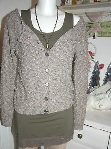 Cream-DK-Strickjacke-Cardigan-Turnable-Pullover-Lurex-Langarm-size-L-Neu