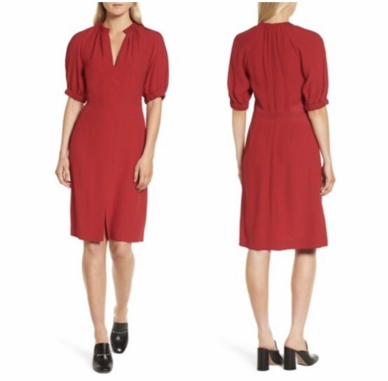 LEWIT Größe 6 Puff Sleeve Dress rot
