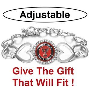 Texas Tech Red Raiders Womens Silver Adjust Heart Link Bracelet w Gift Pkg D27