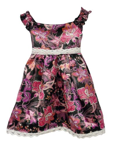 Baby Girls OBaibi Black Pink Silk Feel Satin Floral Dress Age 18-24 Months NEW