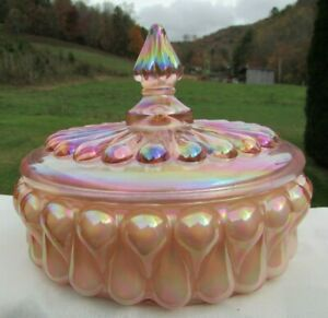 Fenton-Pink-Tear-Drop-Carnival-Glass-Candy-Dish-6-25-034-W-x-4-25H-RARE