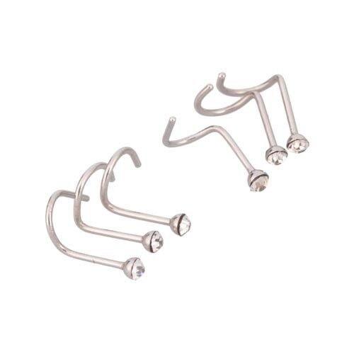 18 Gauge Lot  of  6 Rhinestone Stainless Steel Nose Ring