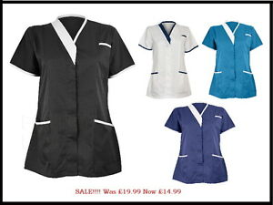Womens nurse healthcare uniform tunics tonia bold trim for Spa uniform ebay