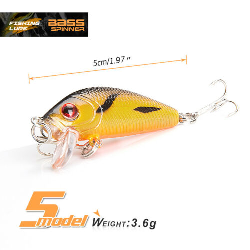 Mini Minnow Fishing Lures Crank Bait Wobbler Hook Bass Crankbaits Tackle Sinking